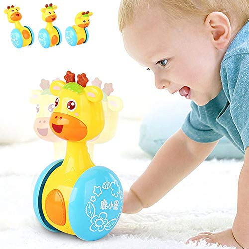 Bluelans Cartoon Giraffe Tumbler Doll Roly-Poly Baby Toys Cute Rattles Ring Bell Newborns 3-12 Month Early Educational Toy for Baby Boys and Girls Xmas Birthday Gifts Stocking Fillers Colorful