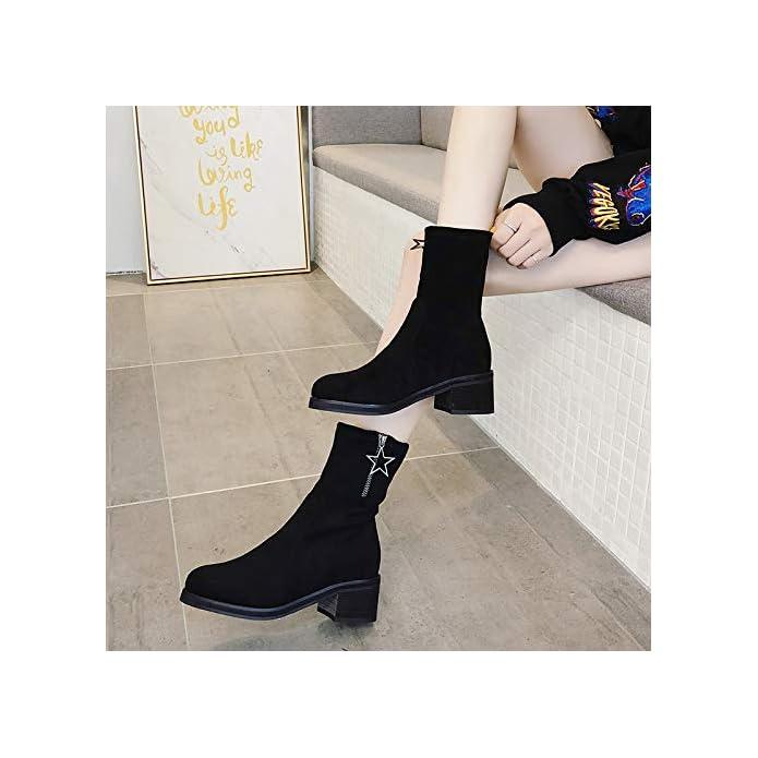 Lbtsq-moda scarpe Da Donna a Breve Gli Stivali Con Alto 6cm Ruvido Tacchi Primavera E Autunno Wild Elastica Calzini Di Stivali