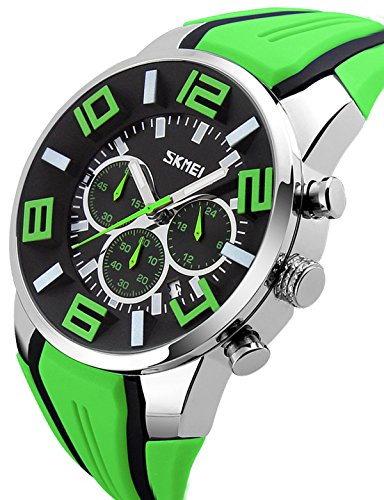 Bright Quartz Watch Mens (Mens Big Face Unique Watch Colorful Sports Chronograph Analog Quartz Fashion Casual Outdoor Watches Green)