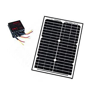ALEKO® SP20W12VLM119 12V 20-Watt Monocrystalline Solar Panel LM119 Charging Controller Kit
