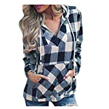 Hatoys Womens Pullover Sweatshirt Plaid Hoodie Long Sleeve Blouse Top with Kangaroo Pocket (L, Navy)