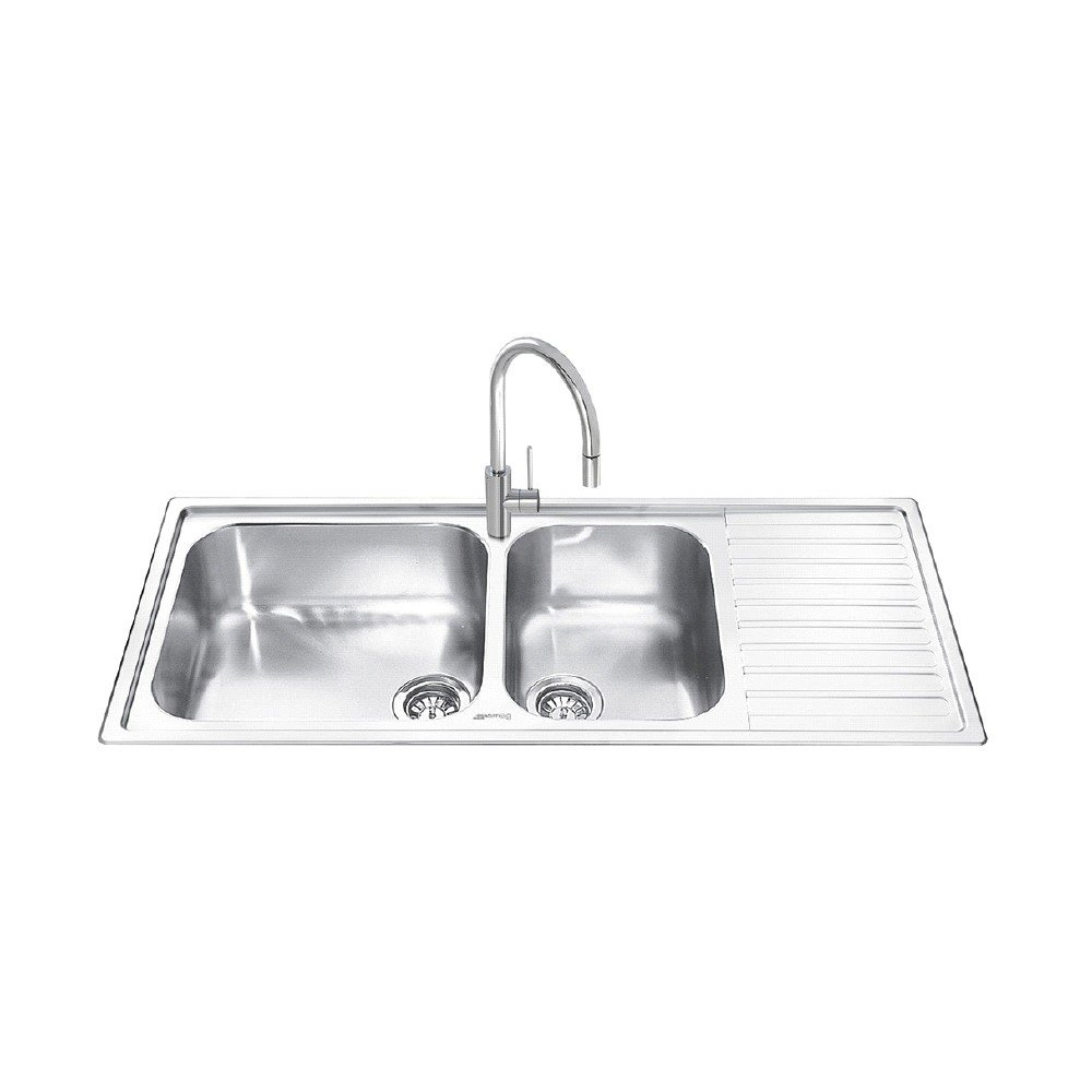 116 cm stainless steel double bowl single drainer inset sink right - Smeg Alba Lg116d 2 Inset Sink Double Bowl Single Right Hand Drainer Amazon Co Uk Large Appliances