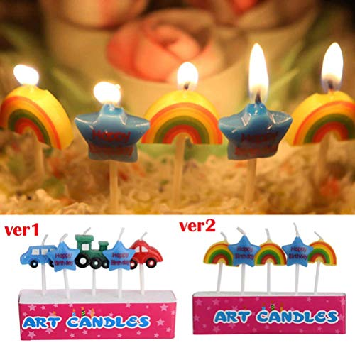 LQT Ltd 5pc/Set Sweet Car Rainbow Star Birthday Candles Kid's Gift Cartoon Craft Cute Party Supplies Cake Topper Candles Home Decoration