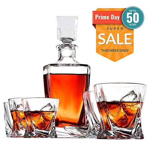 Whiskey Decanter Set by Opul (10 Piece Set) - Includes Crystal Whiskey Glasses Set, Whiskey Stones, Stainless Steel Tray and Tongs - Elegantly Designed to Last the Test of Time (Best Whiskey To Age At Home)