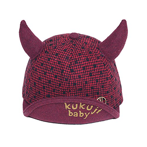 WEILAI Baby horn hats spring and autumn children little devil lattice cap boy boy autumn Korean baseball cap - Korean Ban