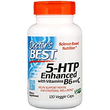 Doctors Best 5-HTP Enhanced with Vitamins B6 and C, Non-GMO, Vegan, Gluten Free, Soy Free, 120 Veggie Caps