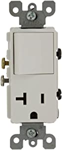 Leviton 5636-W 20 Amp, 120 Volt, Decora Single-Pole, AC Combination Switch, Commercial Grade, Grounding, White