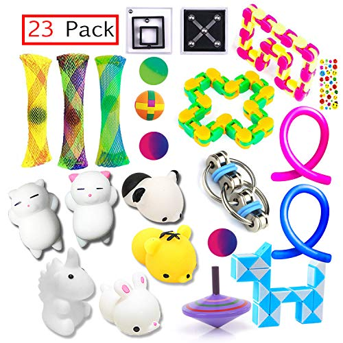 PP PHIMOTA Sensory Toys Set 23 Pack, Stress Relief Fidget Hand Toys for Adults and Kids, Sensory Fidget and Squeeze Widget for Relaxing Therapy - Perfect for ADHD Add Anxiety Autism