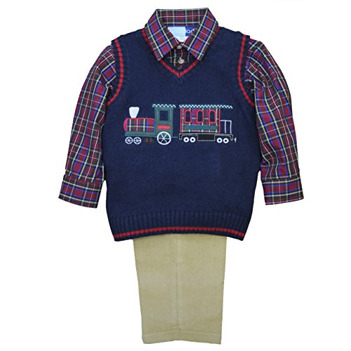 Good Lad Toddler boys 3 pc sweater set. Navy sweater vest with big train applique, khaki corduroy pants, plaid woven shirt