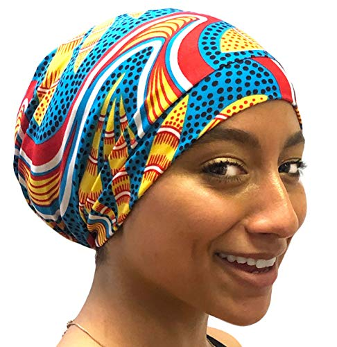 Fairy Black Mother Day or Night Sleep Cap for All Hair Types & Locs (Pretty Blue Yellow, Medium) ()