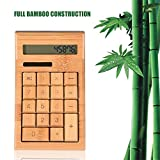 Fosa LCD Screen Full Bamboo Wooden Calculator Powered by Solar Panel / Button Battery