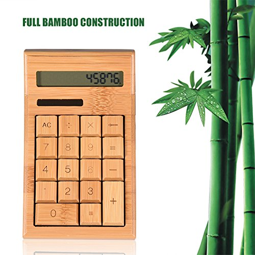 Fosa LCD Screen Full Bamboo Wooden Calculator Powered by Solar Panel / Button Battery by fosa