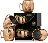 Xummit Stunning Hammered Moscow Mule Copper Mug / Cup with Golden-Hued Handle – 18 Oz (Set of 4)