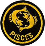 Pisces Zodiac Horoscope embroidered Patch (Black/Gold) 5cm Dia