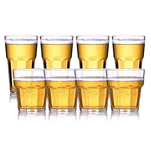 MICHLEY 8pcs Unbreakable Clear Tritan Plastic Glasses,Shatterproof, Reusable, Dishwasher Safe, four 9-ounce Rocks and four 12-ounce Water