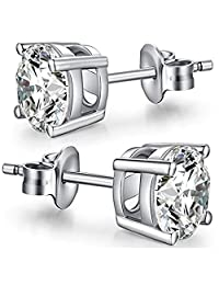 Wonvin Women 925 Sterling Silver Sparkling Cubic Zirconia White Stud Earrings