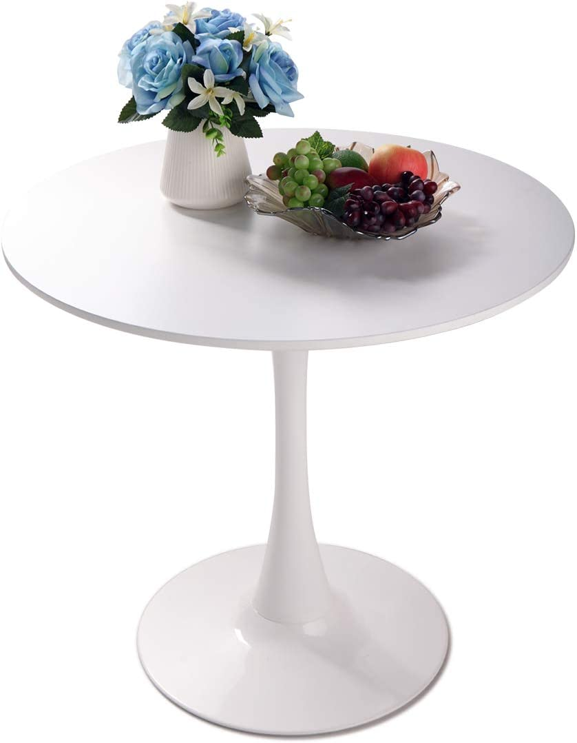 BWM.Co 32 Round Top Dining Table Tulip Mid-Century Style Diameter Pedestal Table, White