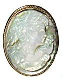 Romantica, Cameo Brooch Pendant Mother of Pearl Sterling Silver 18k Yellow Gold Overlay Italian