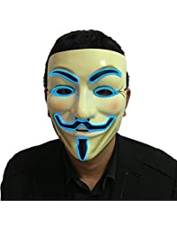 Halloween Light Up V Mask EL Wire LED Mask for Vendetta Guy Fawkes Masquerades
