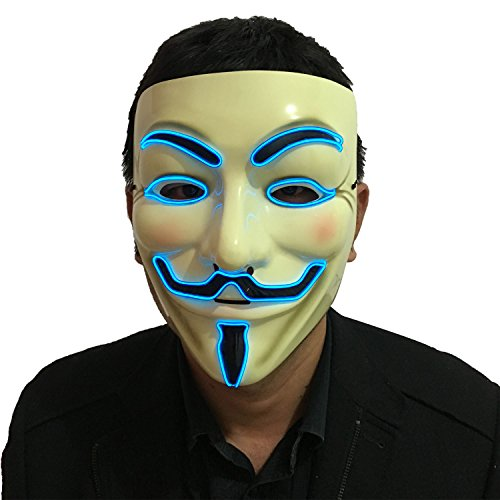Masquerade Mask For Guys (DevilFace Halloween Light Up V Mask EL Wire LED Mask for Vendetta Guy Fawkes Masquerades (Blue))