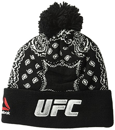 Reebok UFC Adult Women Fanwear Cuffed Knit, One Size, Black (Embroidered Ufc Beanie)