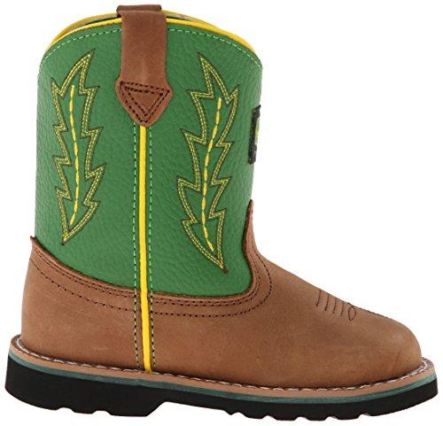 John Deere 1186 Western Boot (Toddler),Tan/Green,5 M US Toddler