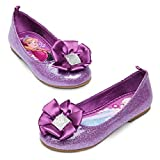 Disney Store Frozen Anna Elsa Purple Glitter Ballet Flat Shoes Slippers Size 7