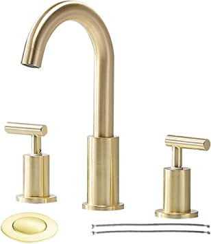 Comllen Modern Double Handle Basin Vanity Bathroom Faucet Brushed Gold Bathroom Faucet With Pop Up Drain And Hot /& Cold Water Hose