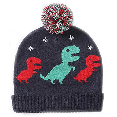 (Exemaba Baby Boys Winter Knit Hat - Infant Soft Warm Knitted Beanie Cap Cute Fall Toddler Kids Crochet Hairball Pom Pom Hat(Dinosaur,XL) )