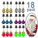 Ahier 18 PCS Beard Ornaments, 6 Beard Lights, 6 Sounding Jingle Bells, 6 PCS Baubles, Ugly Party Decor for Men, Festival.