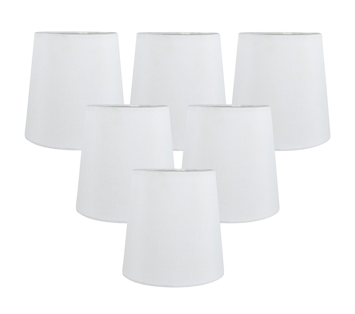 Meriville Set of 6 Off White Faux Silk Clip On Chandelier Lamp Shades, 4-inch by 5-inch by 5-inch
