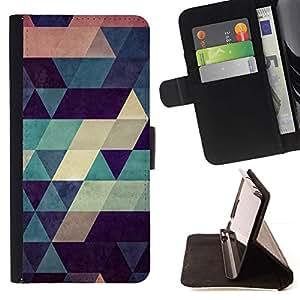 For Samsung Galaxy S6 EDGE (NOT S6) Case , Polígono de modelo del art trullo Beige Rojo Azul- la tarjeta de Crédito Slots PU Funda de cuero Monedero caso cubierta de piel