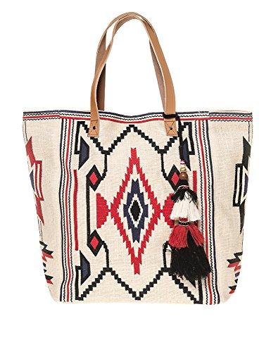 Star Mela Women's Totsi Emb Tote Women's Ivory Embroidered Bag by STAR MELA