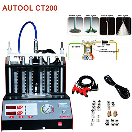 (Autool CT-200 6/4 Cylinder Car Auto Ultrasonic Injector Cleaning Tester machine 110V Support Motorcycle Fuel Cleaning Tools)