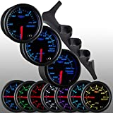 GlowShift 1992-1997 Ford F-150 F-250 F-350 Power Stroke Diesel Package + Black 7 Color 60 PSI Boost, 2400 EGT & Trans Temp Gauges