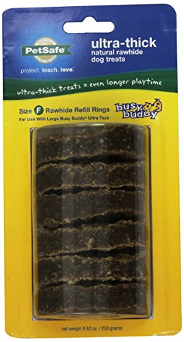 - PetSafe Busy Buddy Ultra Refill Dog Treats for Large Busy Buddy Ultra Dog Toys, Natural Rawhide, Size F