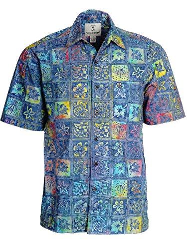 Price comparison product image Artisan Outfitters Mens Catalina Island Batik Cotton Shirt A0214-16 (4XL,  Kaleidoscope Blue)
