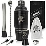 The 8-in-1 bartenders kit | 24oz cocktail shaker with a full beverage preparation set for home & bar made drinks | stainless steel metal | leak proof cup | martini shaker set & mojito kit by Spirit