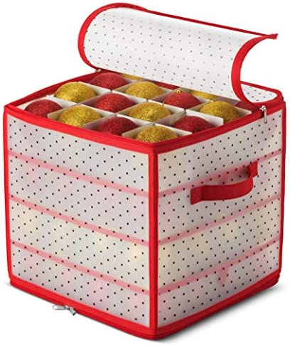 """Plastic Christmas Ornament Storage Box with 2-Sided Dual-Zipper Closure - Keeps 64 Holiday Ornaments, Xmas Decorations Accessories, 3"""" dice Compartments - Sturdy Flexible Plastic"""