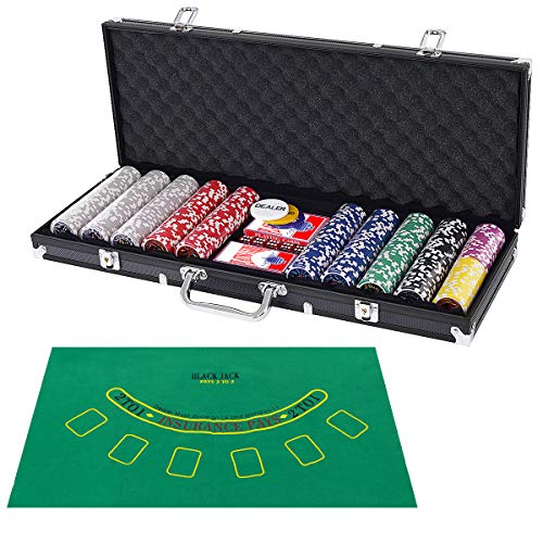 Costzon Poker Chip Set, 11.5 Gram with Aluminum Case, 5 Dice Chips, 2 Decks of Playing Cards, Dealer Buttons(Black)