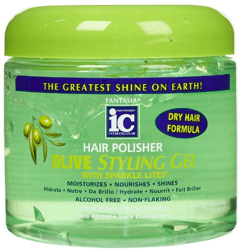 Ic Olive (Fantasia High Potency IC Hair Polisher Olive Styling Gel, with Sparkle Lites, 16 oz.)