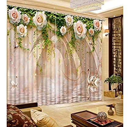 HomeAZWQ 3D fenêtre Rideau Salle de Bain Douche Swan marbre ...