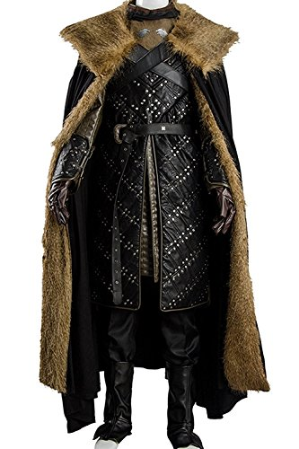 Game Of Thrones Costumes Designer (mingL Cosplay Men's Season 7 Night's Watch Jon Snow Cosplay Costume Luxurious Outfit Suit Armor Vest Cape)
