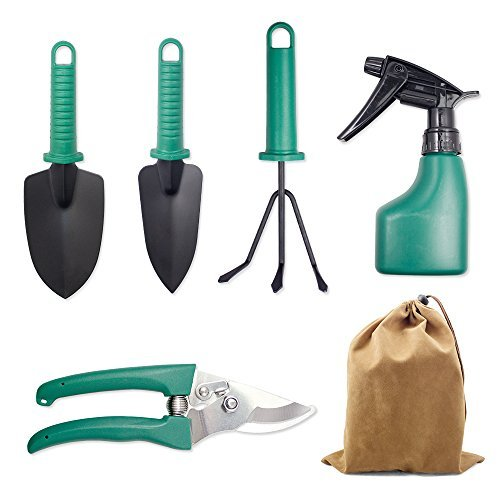 JARAGAR Garden Tool Set, 5PCS Garden Tool Kit Hovel Rake clippers Gardening Hand Tools Plant Care Tool with Hard Storage Case Gardening Gifts for Men Women Include Trowel Pruners Rakes Water Sprayer by JARAGAR