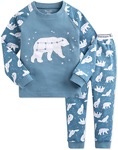 - Vaenait baby Kids Boys 100% Cotton Sleepwear Pajamas 2pcs Set The Bear Milk Blue XS