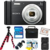 : Sony W800 (Black) + 32GB Memory Card + Expo-Basic Accessory Bundle