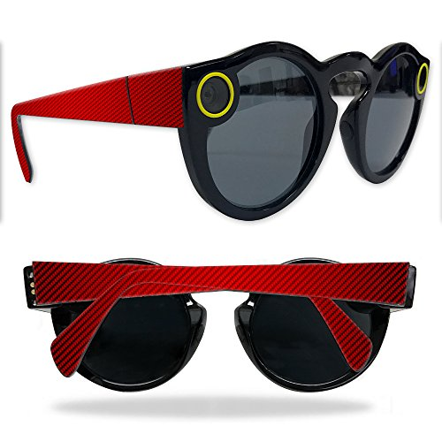 MightySkins Protective Vinyl Skin Decal for Snapchat Spectacles wrap cover sticker skins Red Carbon - Fibre Spectacles Carbon