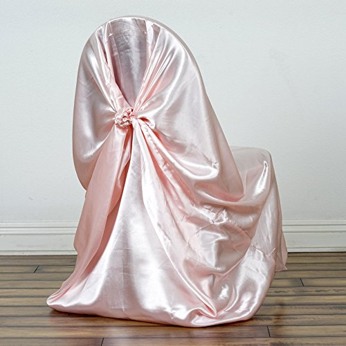 BalsaCircle 50 pcs Blush Universal Satin Chair Covers Slipcovers for Wedding Party Ceremony Reception Decorations