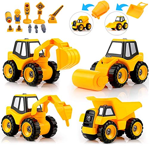 DeeXop Construction Vehicles Digger Toy, 4 in 1 DIY Kids Stem Construction Trucks with Excavator, Loading car,Road Roller, drill rig car for Boys Girls Age 3 4 5 6 7 Years Old and up