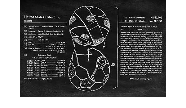Soccer Ball Blackboard Patent 24x16 Gallery Quality Metal Art